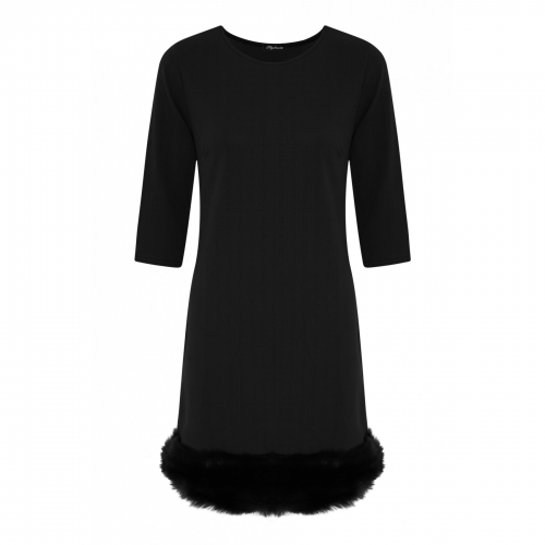 Product image of Celeb Victoria Inspired Faux Fur Trim Shift Dress