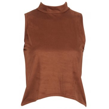Product image of HIGH NECK SUEDETTE TOP WITH DIPPED HEM