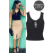 Product image of SLINKY LACE UP CROP TOP black