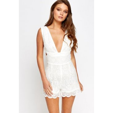 Product image of Katie Lace White Playsuit