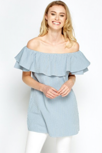Product image of Megan Textured Blue Long Top