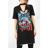 King of The Road Printed Choker Neck T-Shirt Dress