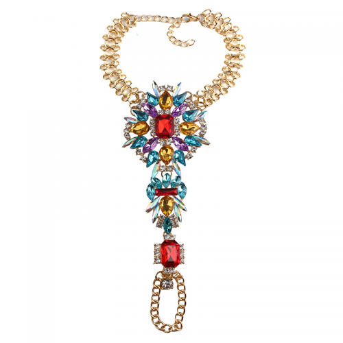 Product image of jewelled anklet multicoloured gold