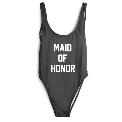 "Product image of ""Maid of honour"" Slogan Swimsuit"