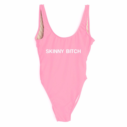 "Product image of ""Skinny bitch"" Slogan Swimsuit"