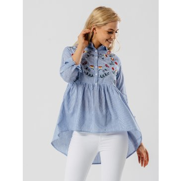 Product image of Stripe Print Dip Hem Embroidered Shirt in Blue