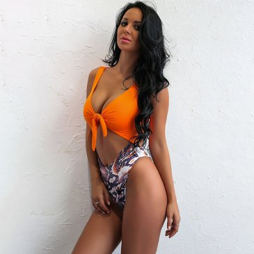 Product image of Chloe Orange and snake print swimsuit