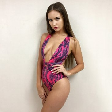 Product image of Gabby pink snake print swimsuit
