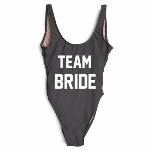 "Product image of ""Team Bride"" slogan swimsuit"