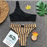 Courtney stripe one strap bikini