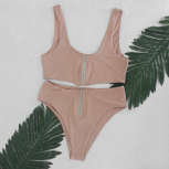 Shelby zip two way nude bikini